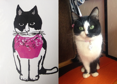 白黒猫ポストカード
